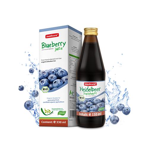 Bio Heidelbeer 100 % Fruchtsaft - 330 ml Glasflasche