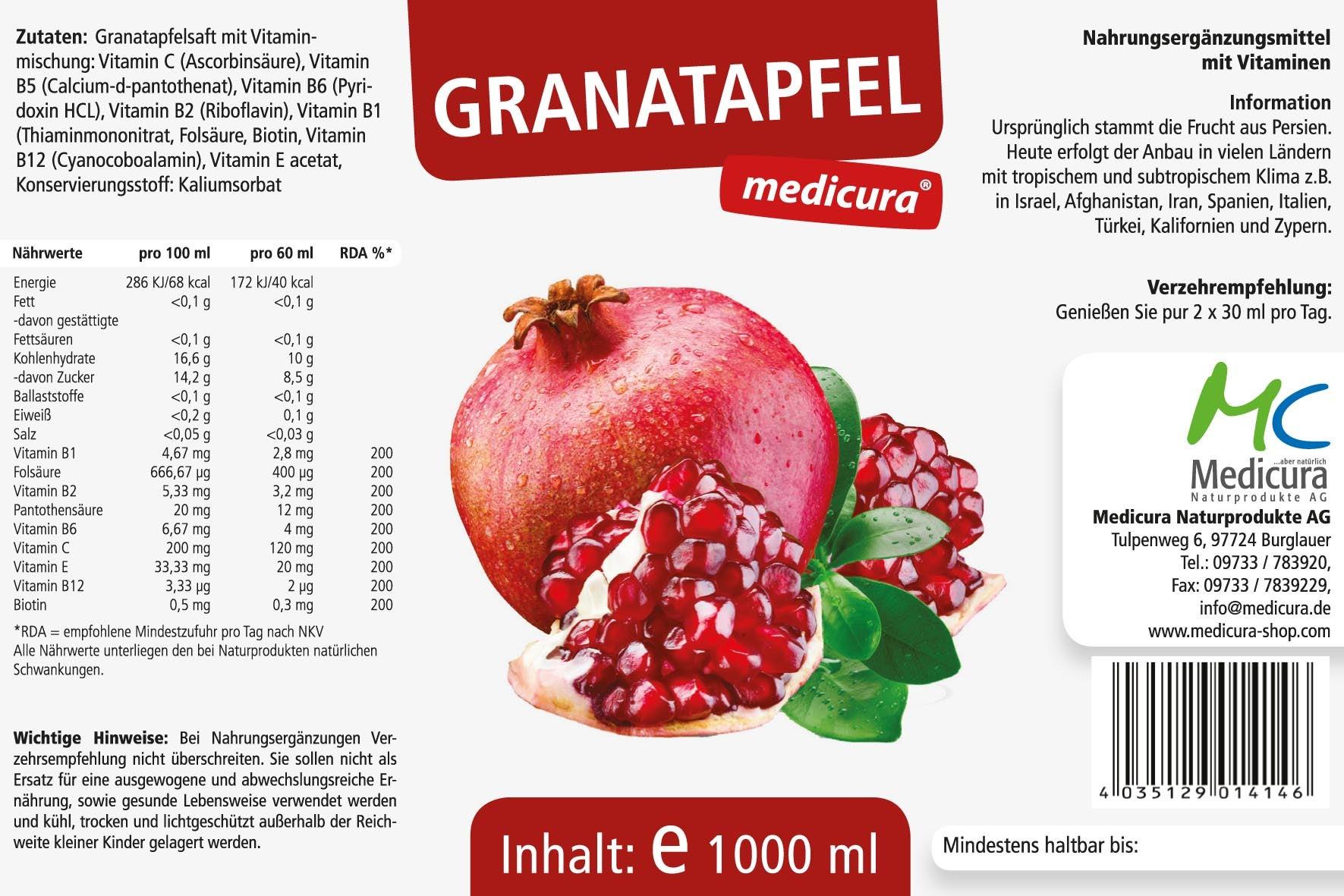 Granatapfel Fruchtsaft mit Vitaminen - 1000 ml PET-Flasche