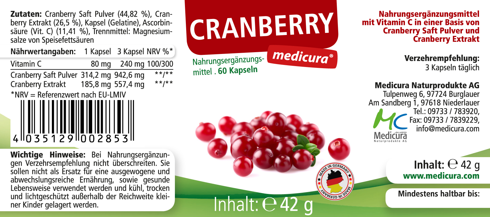 Cranberry - 60 Kapseln