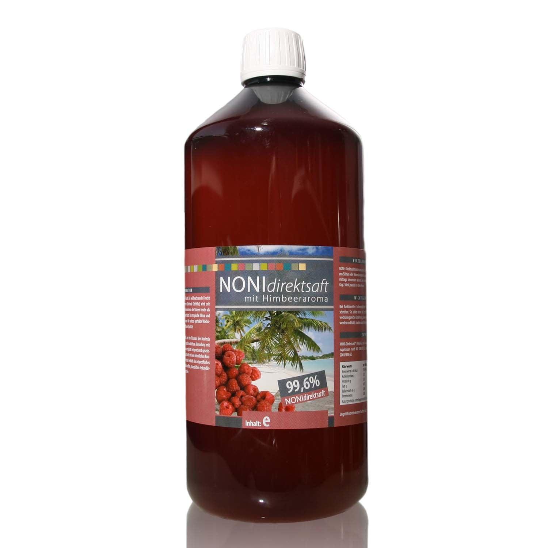 Noni 99,6 % Direktsaft mit Himbeeraroma - 1000 ml PET-Flasche