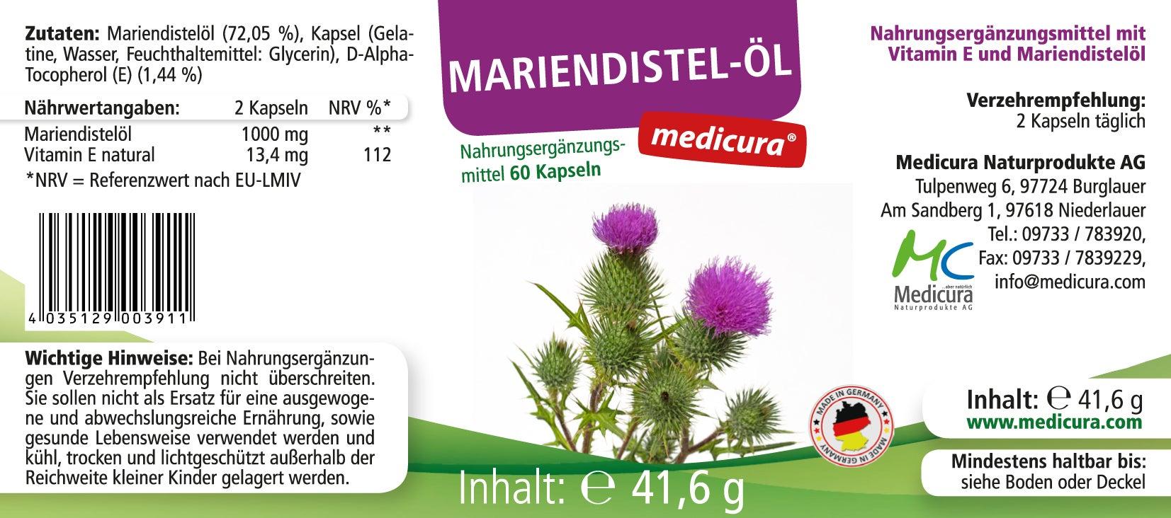Mariendistelöl - 60 Kapseln
