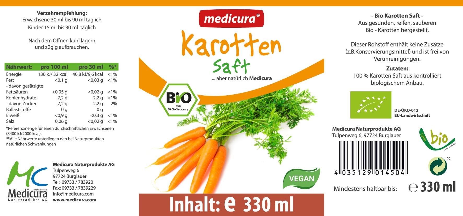 Bio Karotte 100 % Saft - 330 ml Glasflasche