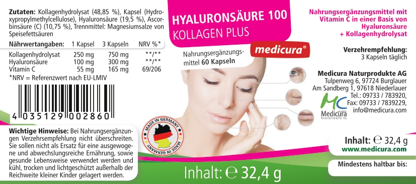 Hyaluronsäure 100 Kollagen Plus - Magic Aging - 60 Kapseln