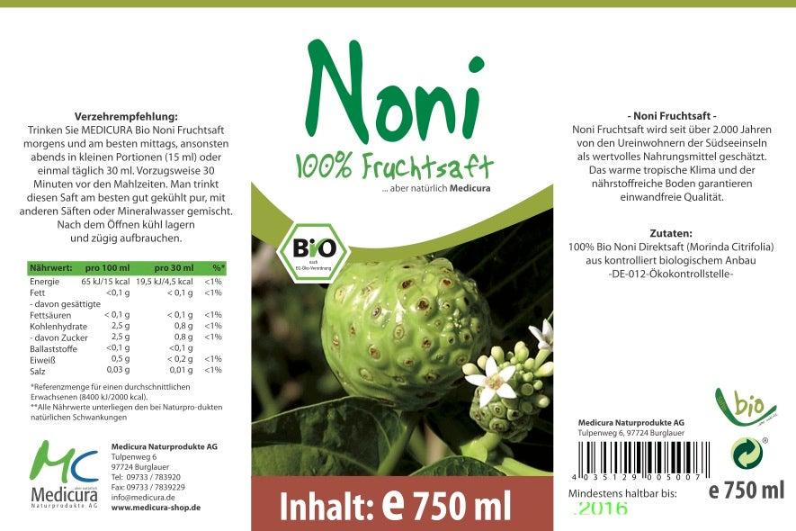 Bio Noni 100 % Direktsaft - 750 ml Glasflasche