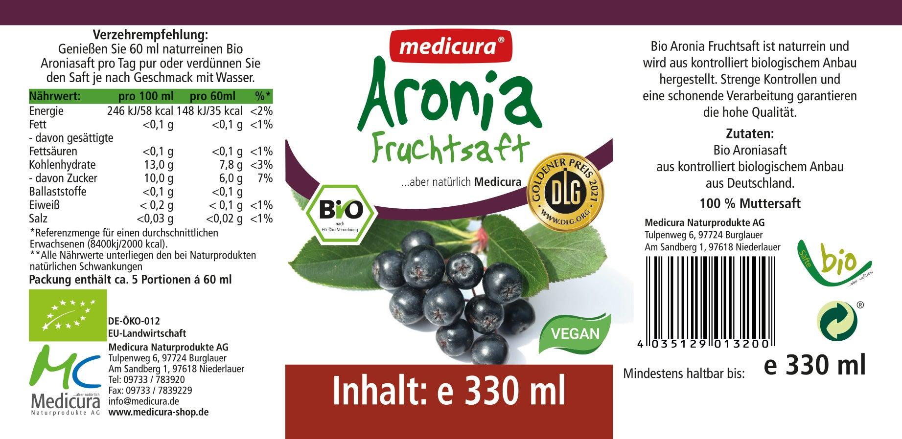 Bio Aronia 100 % Fruchtsaft - 330 ml Glasflasche
