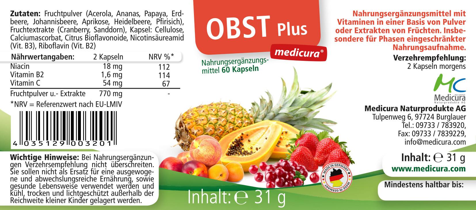Obst Plus - 60 Kapseln