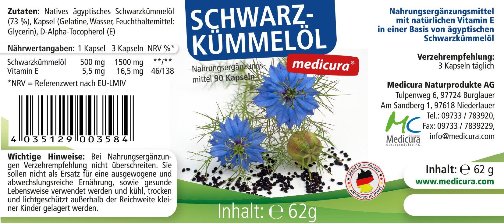 Schwarzkümmelöl - 90 Kapseln