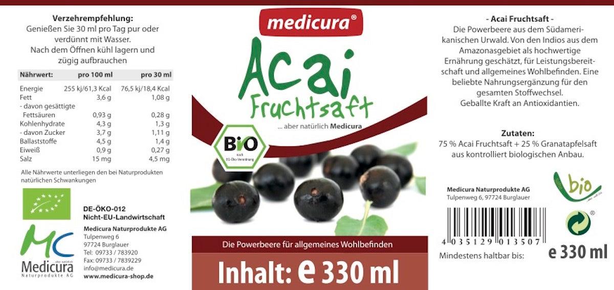 Bio Acai 100 % Fruchtsaft - 330 ml Glasflasche