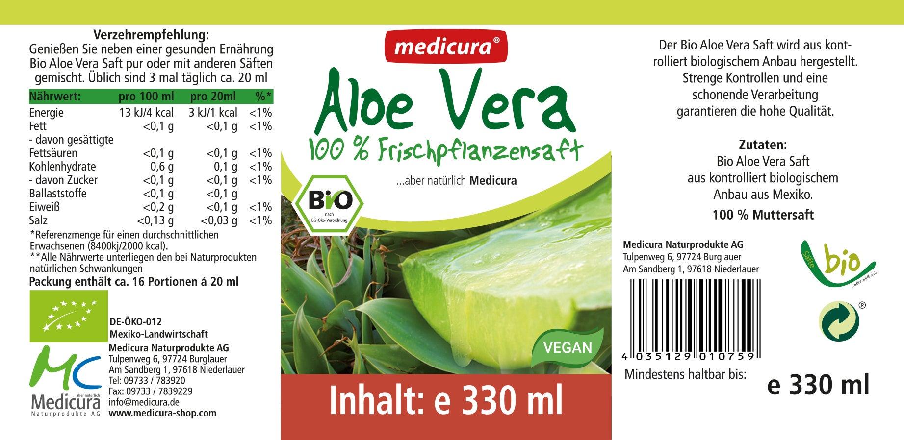 Bio Aloe Vera 100% Frischpflanzensaft - 330 ml Glasflasche