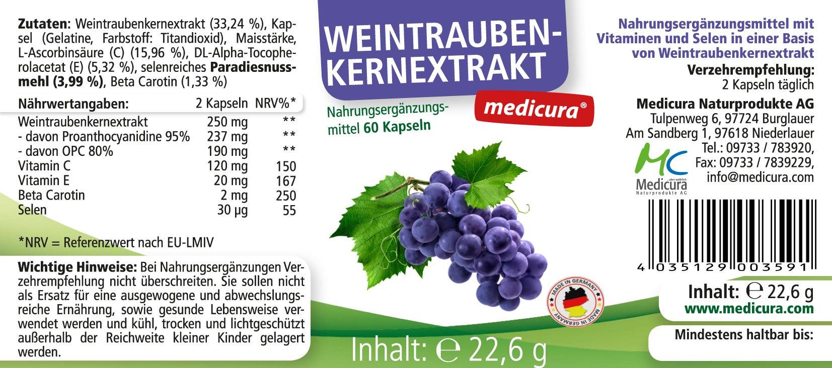 Weintraubenkern-Extrakt + ACE + Selen - 60 Kapseln