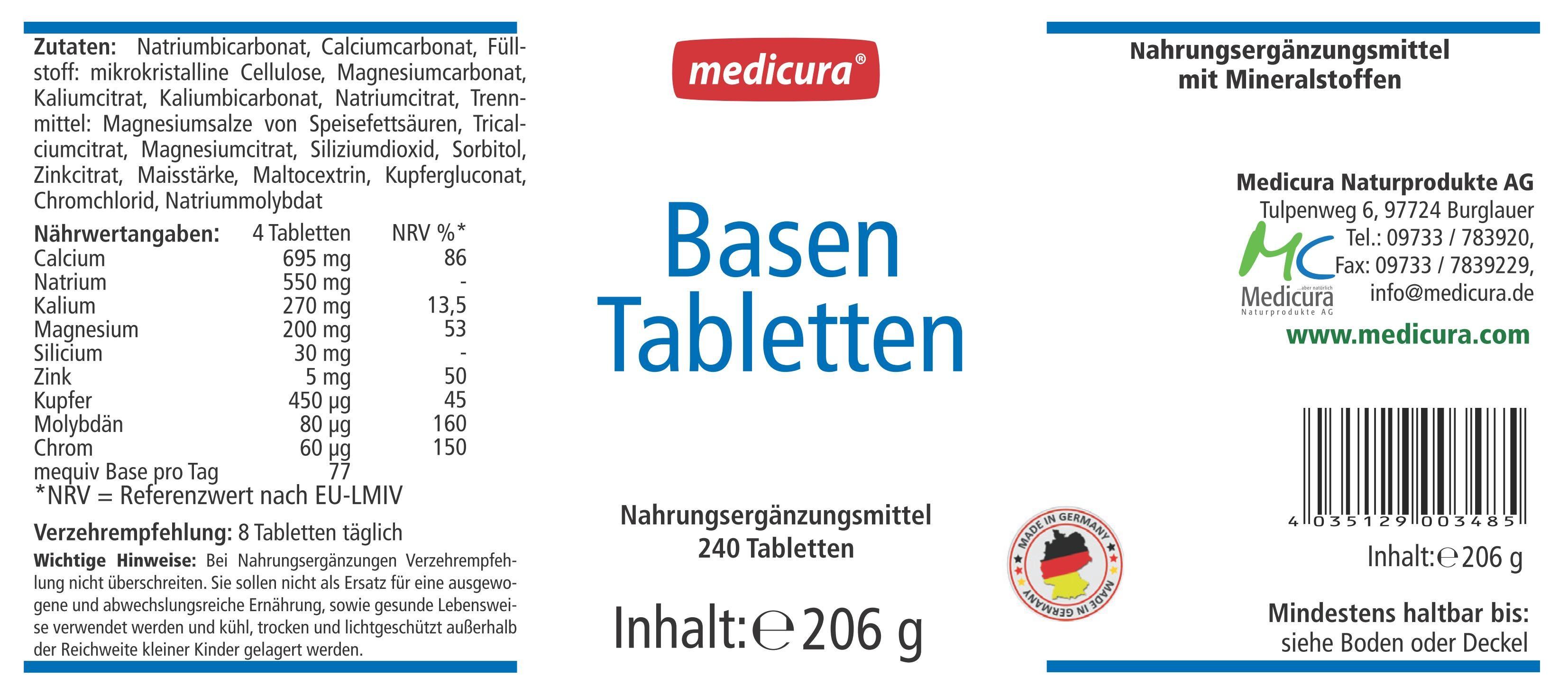 Säure Basen Tabletten (hochkonzentriert) - 240 Tabletten