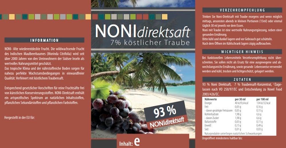 Noni Direktsaft 93 % mit Traubensaft 7 % - 1000 ml PET-Flasche