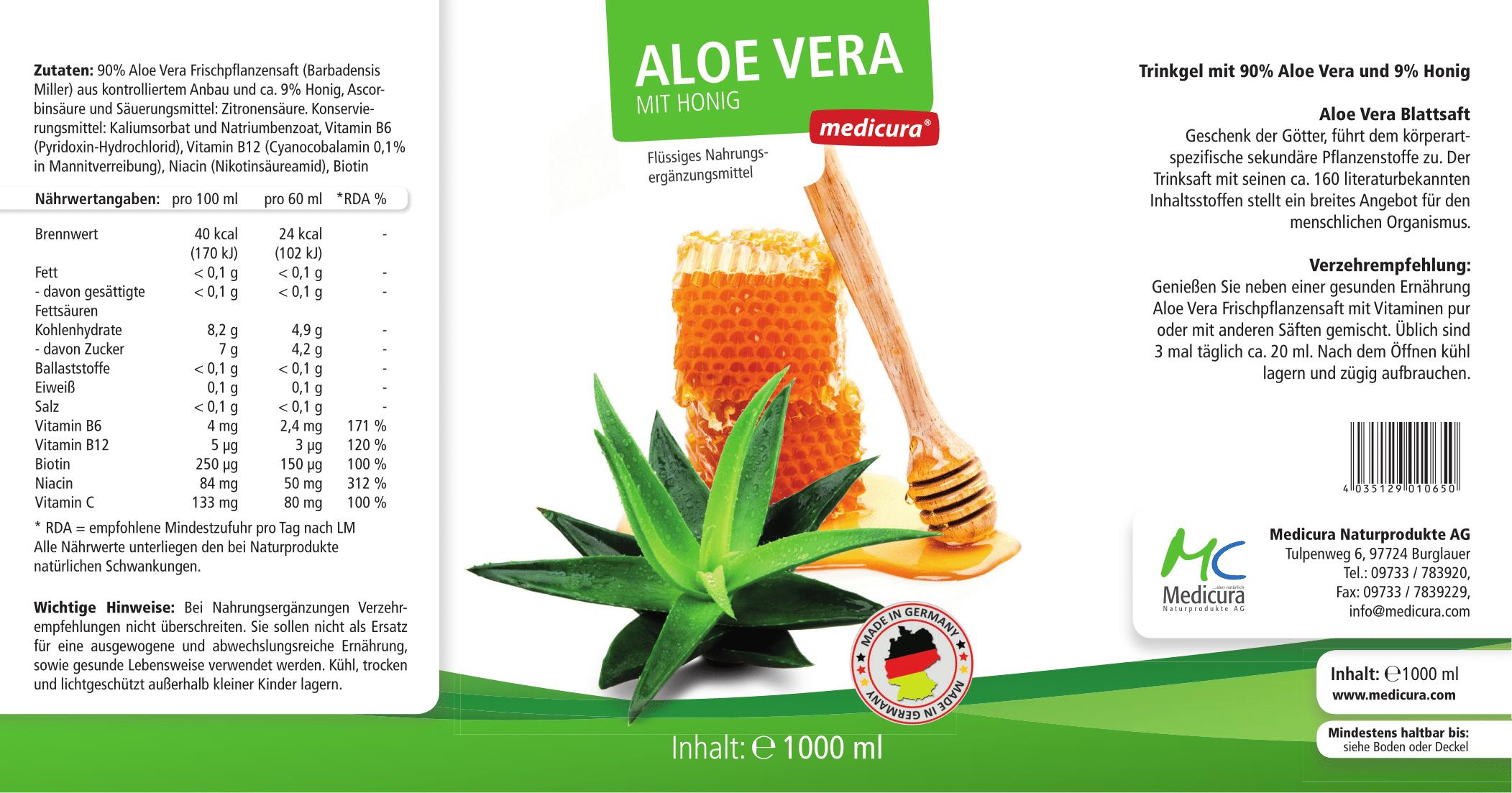 Aloe Vera Frischpflanzensaft mit Honig - 1000 ml PET-Flasche