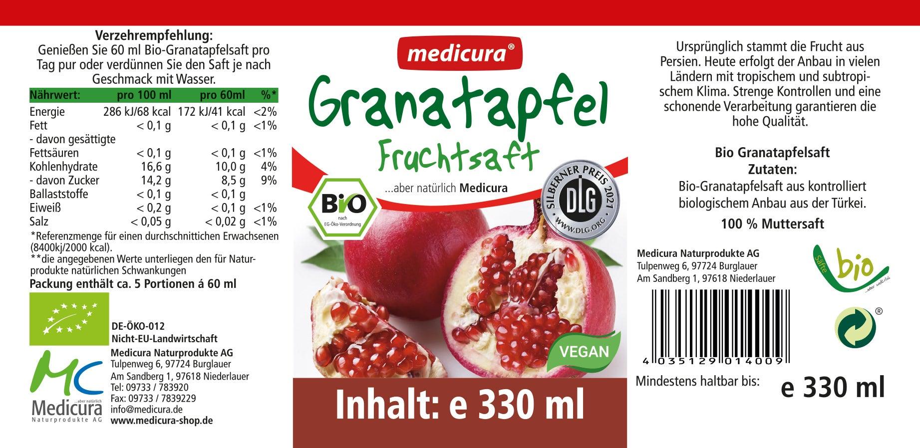 Bio Granatapfel 100 % Fruchtsaft - 330 ml Glasflasche