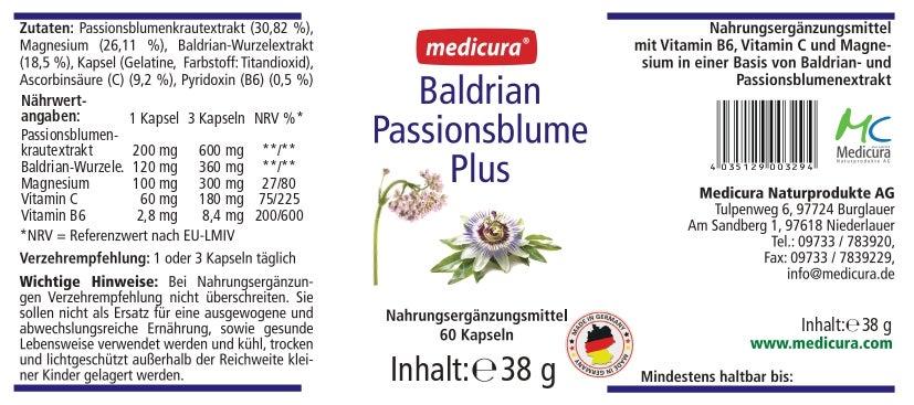 Baldrian Passionsblume Plus - 60 Kapseln