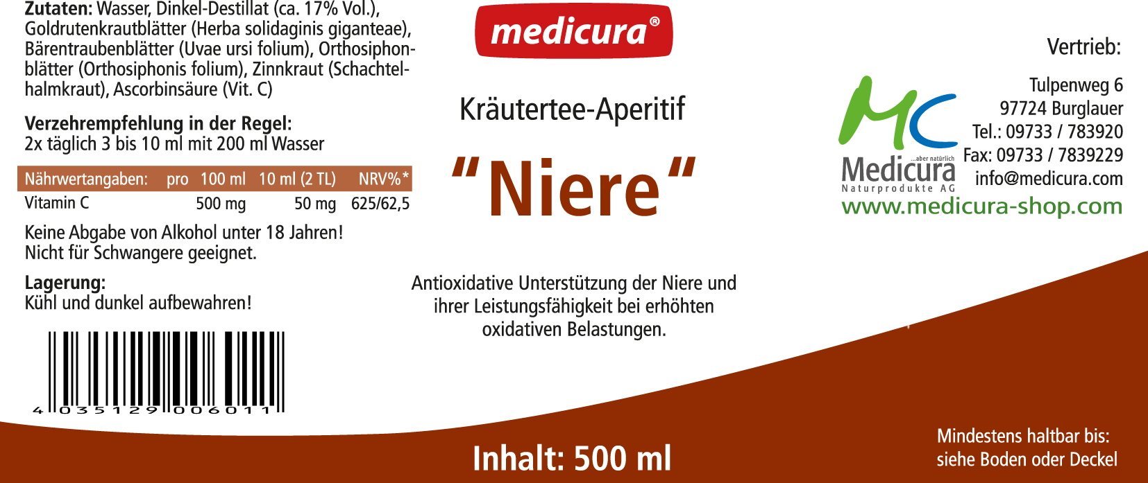 """Kräutertee-Aperitif """"Niere"""" - 500 ml Glasflasche"""