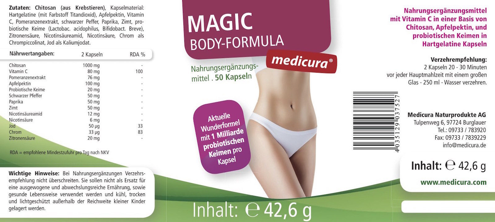 Chitosan Probiotika - Magic Body Formula - 50 Kapseln
