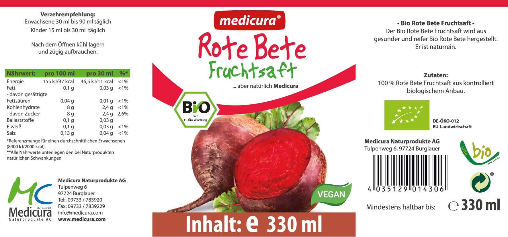 Bio Rote Bete 100 % Saft - 330 ml Glasflasche