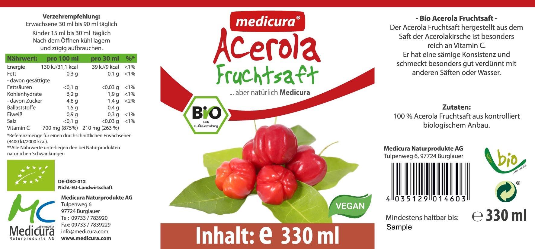 Bio Acerola 100 % Fruchtsaft - 330 ml Glasflasche