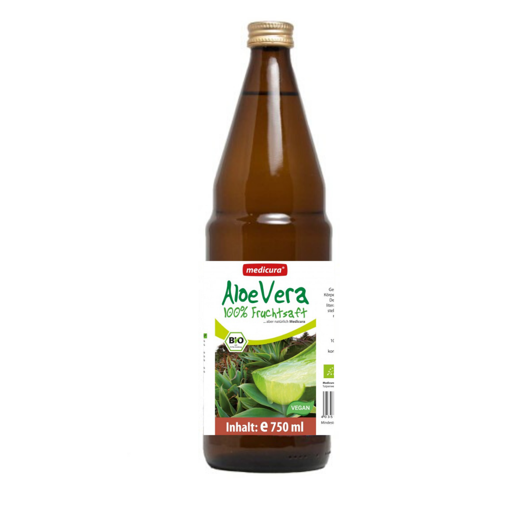 Bio Aloe Vera 100% Frischpflanzensaft - 750 ml Glasflasche