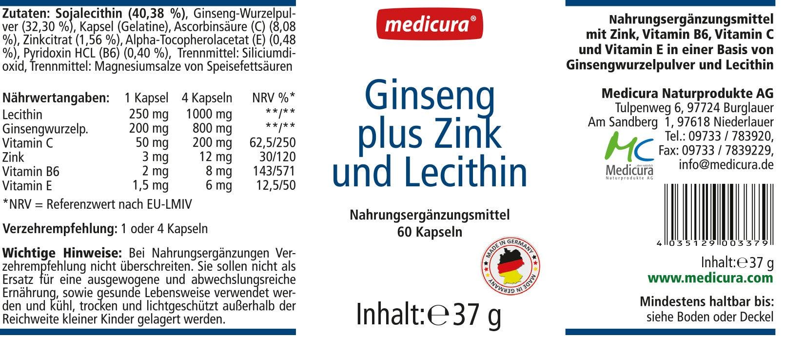 Ginseng + Zink + Lecithin - 60 Kapseln