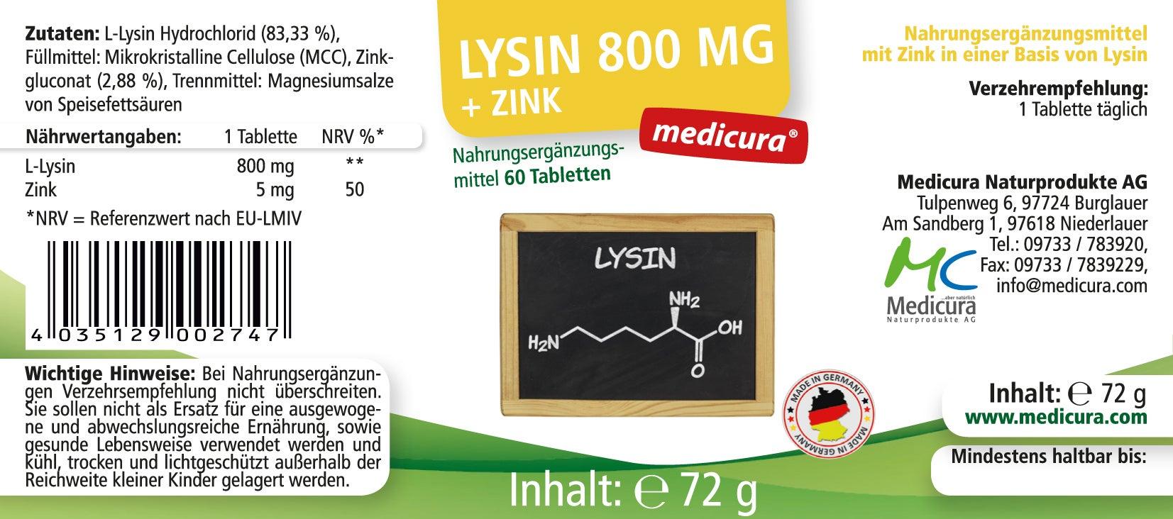 Lysin 800 mg + Zink - 60 Tabletten