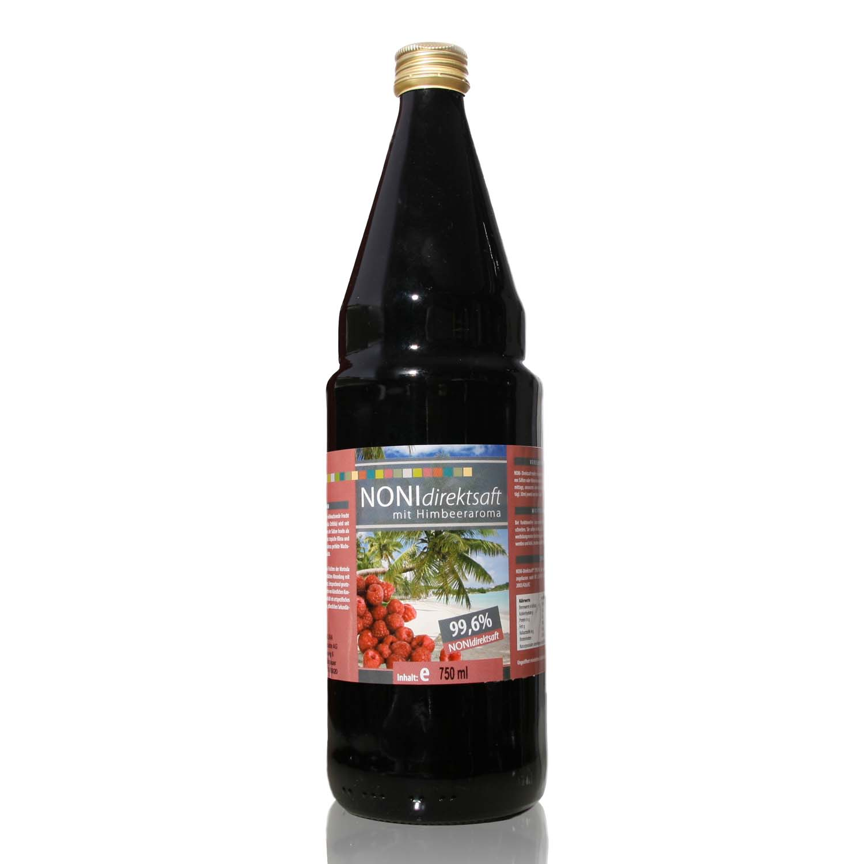 Noni 99,6 % Direktsaft mit Himbeeraroma - 750 ml Glasflasche