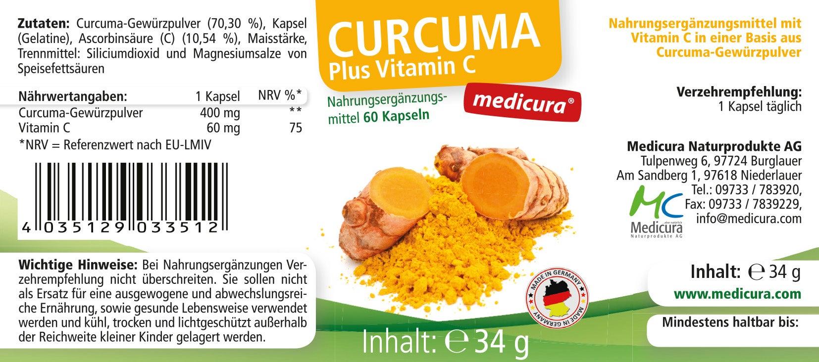 Curcuma + Vitamin C - 60 Kapseln
