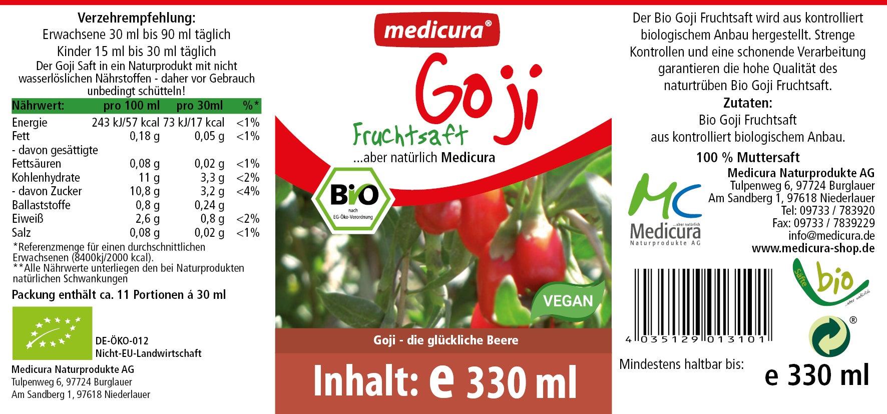 Bio Goji 100 % Fruchtsaft - 330 ml Glasflasche