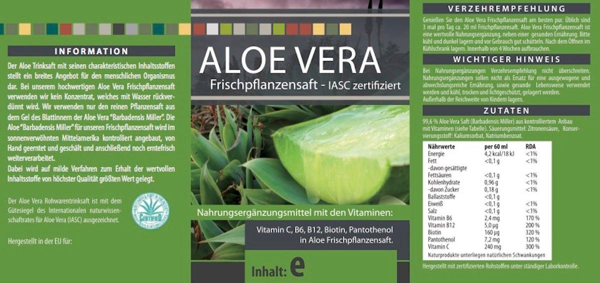 Aloe Vera 99,6 % Frischpflanzensaft  - 1000 ml PET-Flasche