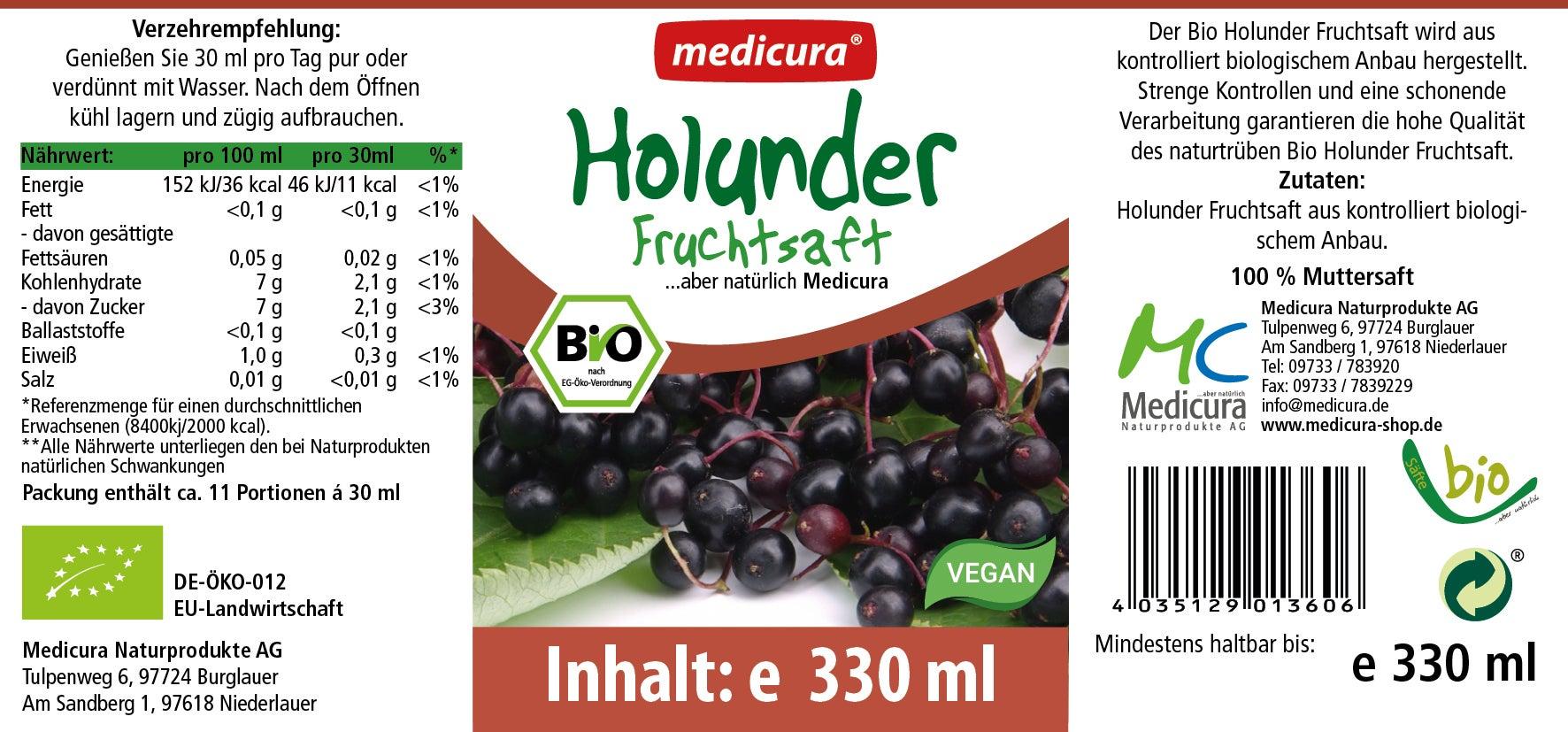 Bio Holunder 100 % Fruchtsaft - 330 ml Glasflasche