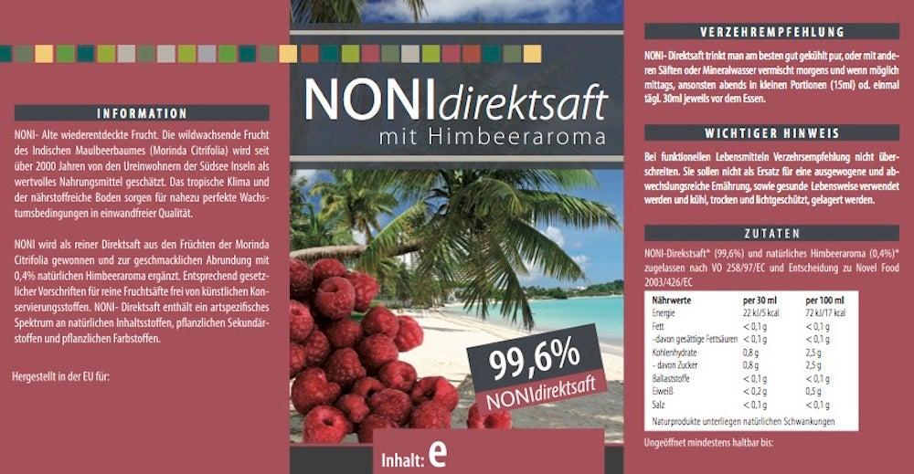 Noni Direktsaft 99,6 % mit Himbeeraroma - 500 ml PET-Flasche
