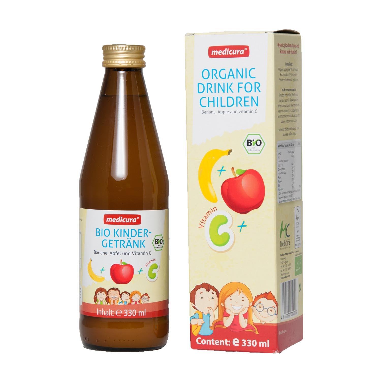 Bio Kindergetränk mit Banane, Apfel und Vitamin C  - 330 ml Glasflasche