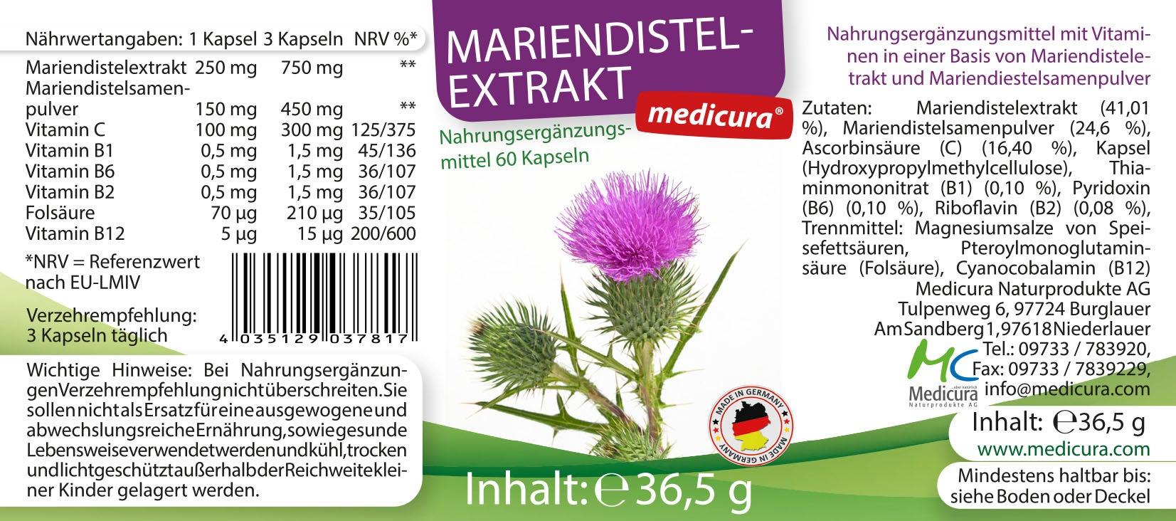Mariendistelextrakt 250 mg - 60 Kapseln