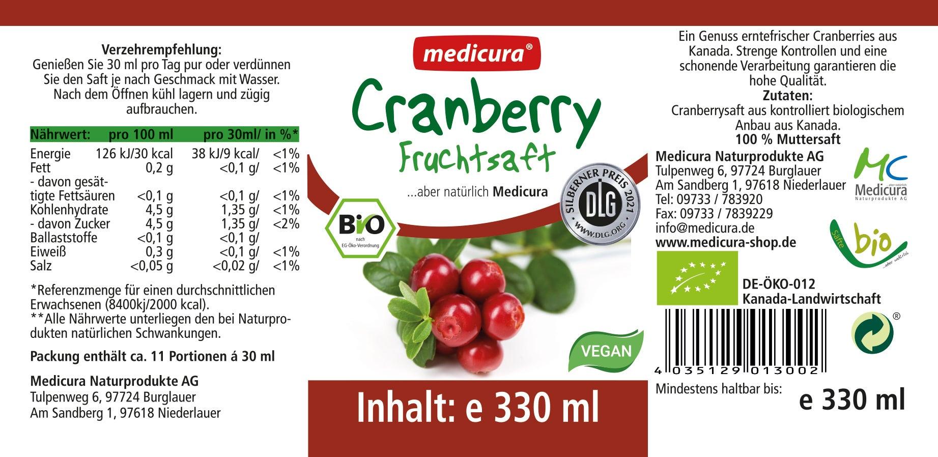 Bio Cranberry 100 % Fruchtsaft - 330 ml Glasflasche