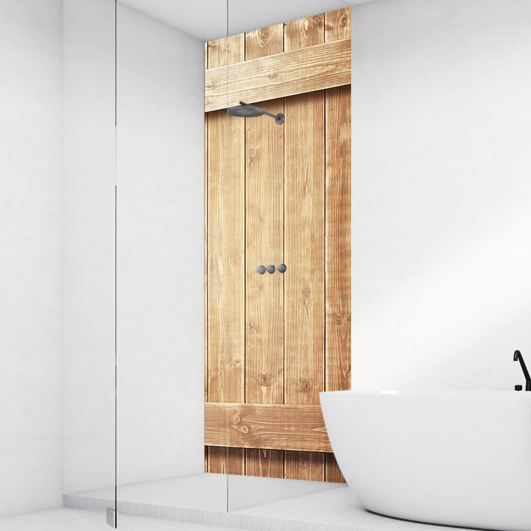Duschrückwand Holzwand mit Leisten