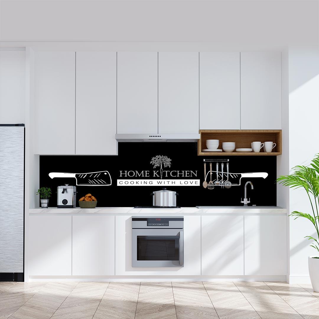 Küchenrückwand Home Kitchen Messer schwarz
