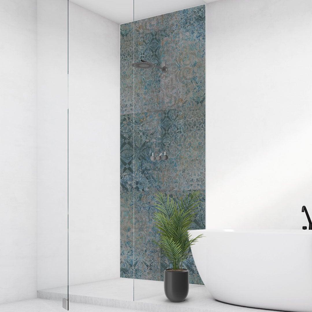 Duschrückwand Mosaik Blau-Türkis, fugenlose Wandpaneele aus Alu-Verbund 3mm