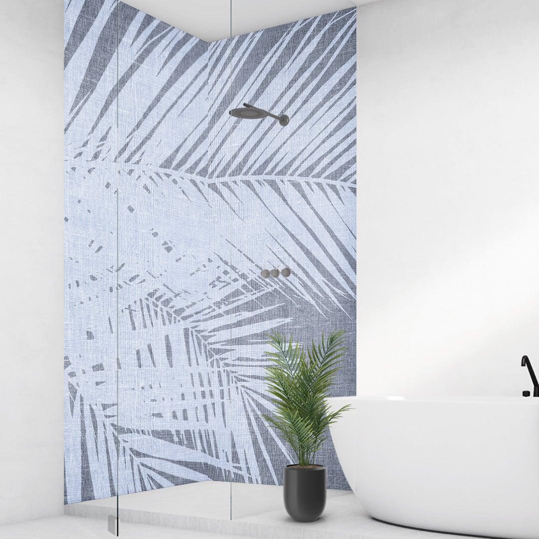 Duschrückwand Palmen Vintage blau über Eck Set