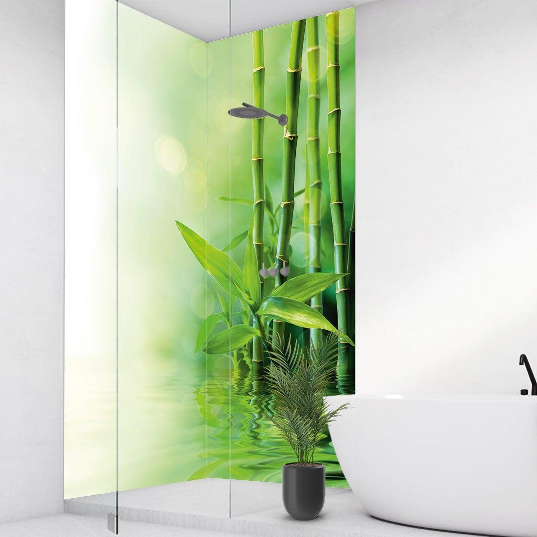 Duschrückwand Bambus Wasser über Eck Set