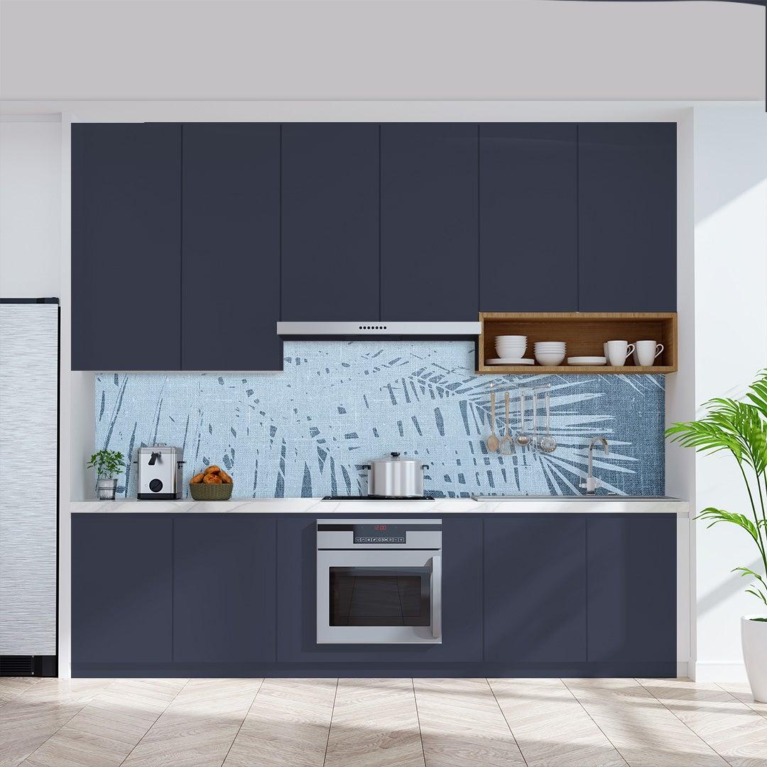 Küchenrückwand Kalkstein Vintage Palmen blau