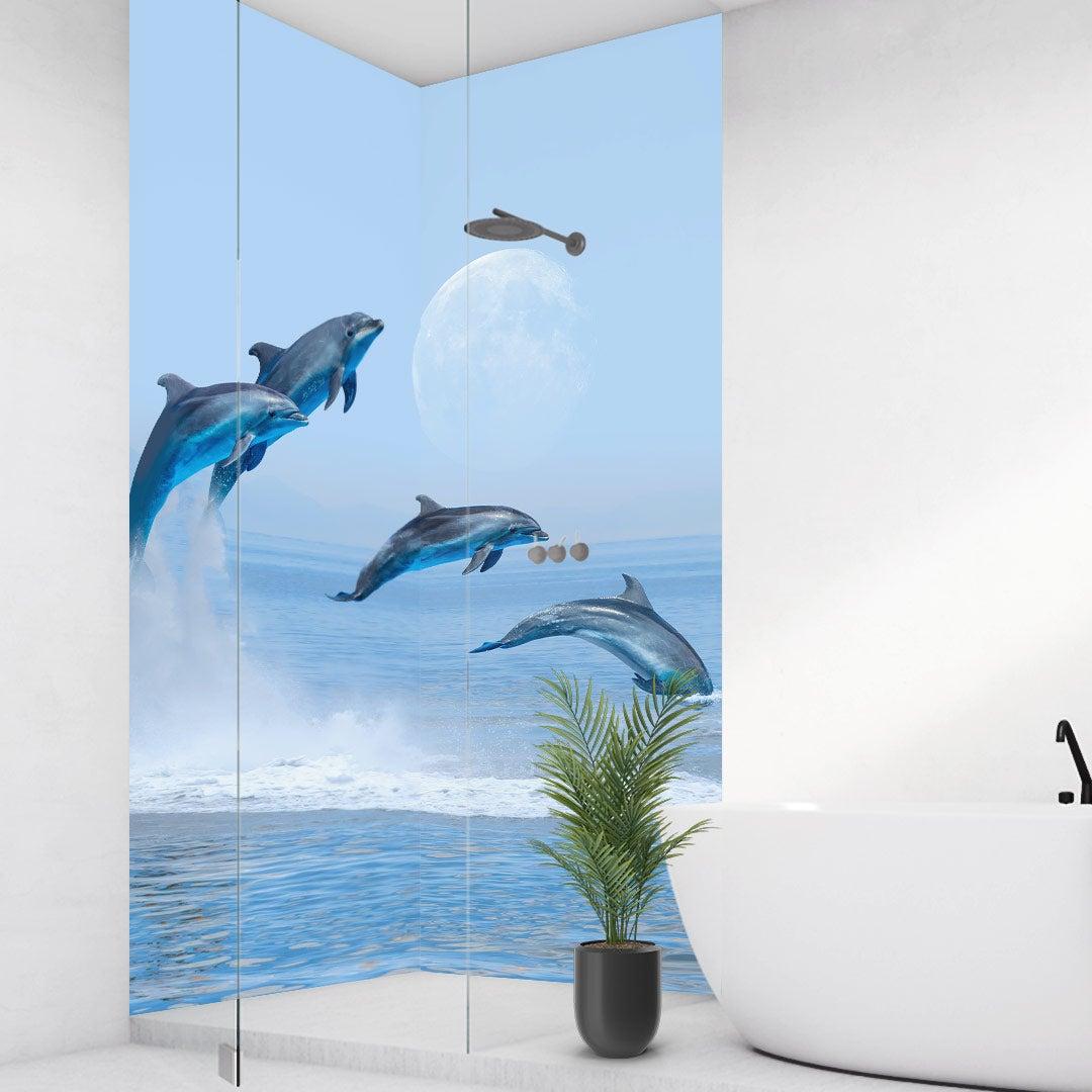 Duschrückwand Delfine über Eck Set