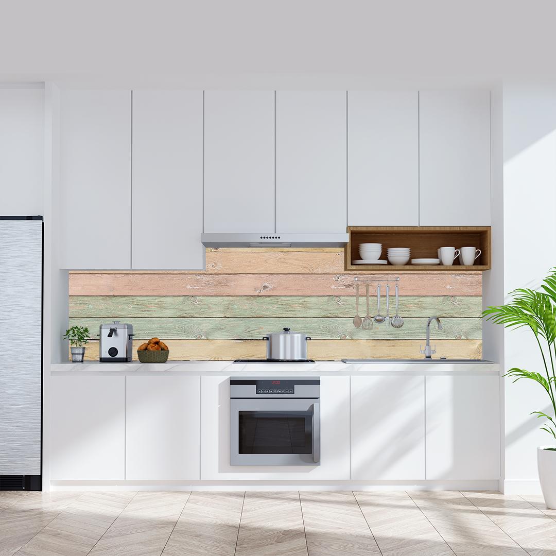 Küchenrückwand Holzwand Pastel