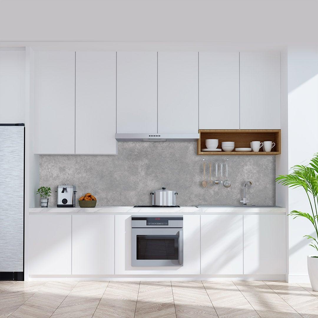 Küchenrückwand Beton, fugenlose Wandpaneele aus Alu-Verbund 3mm