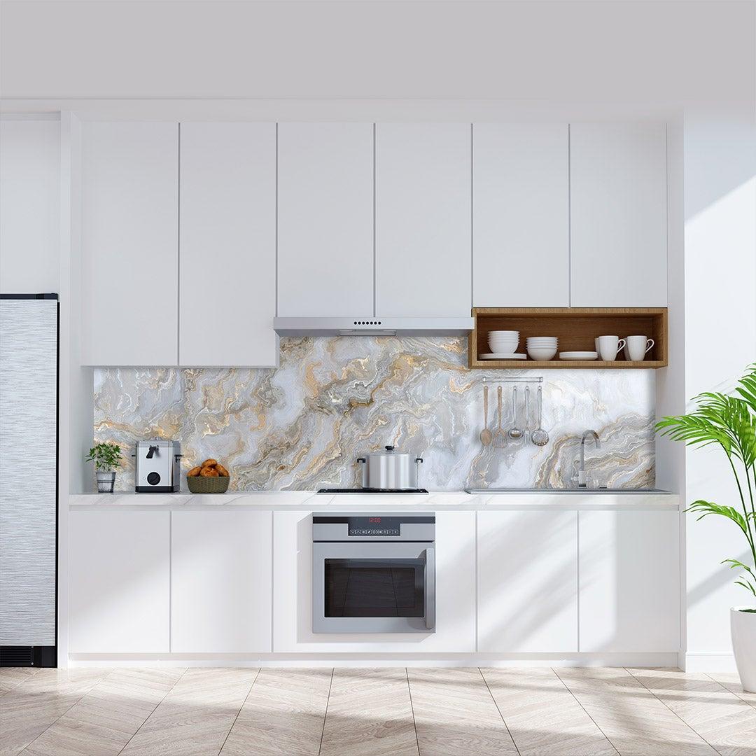 Küchenrückwand Marmor Gold , fugenlose Wandpaneele aus Alu-Verbund 3mm