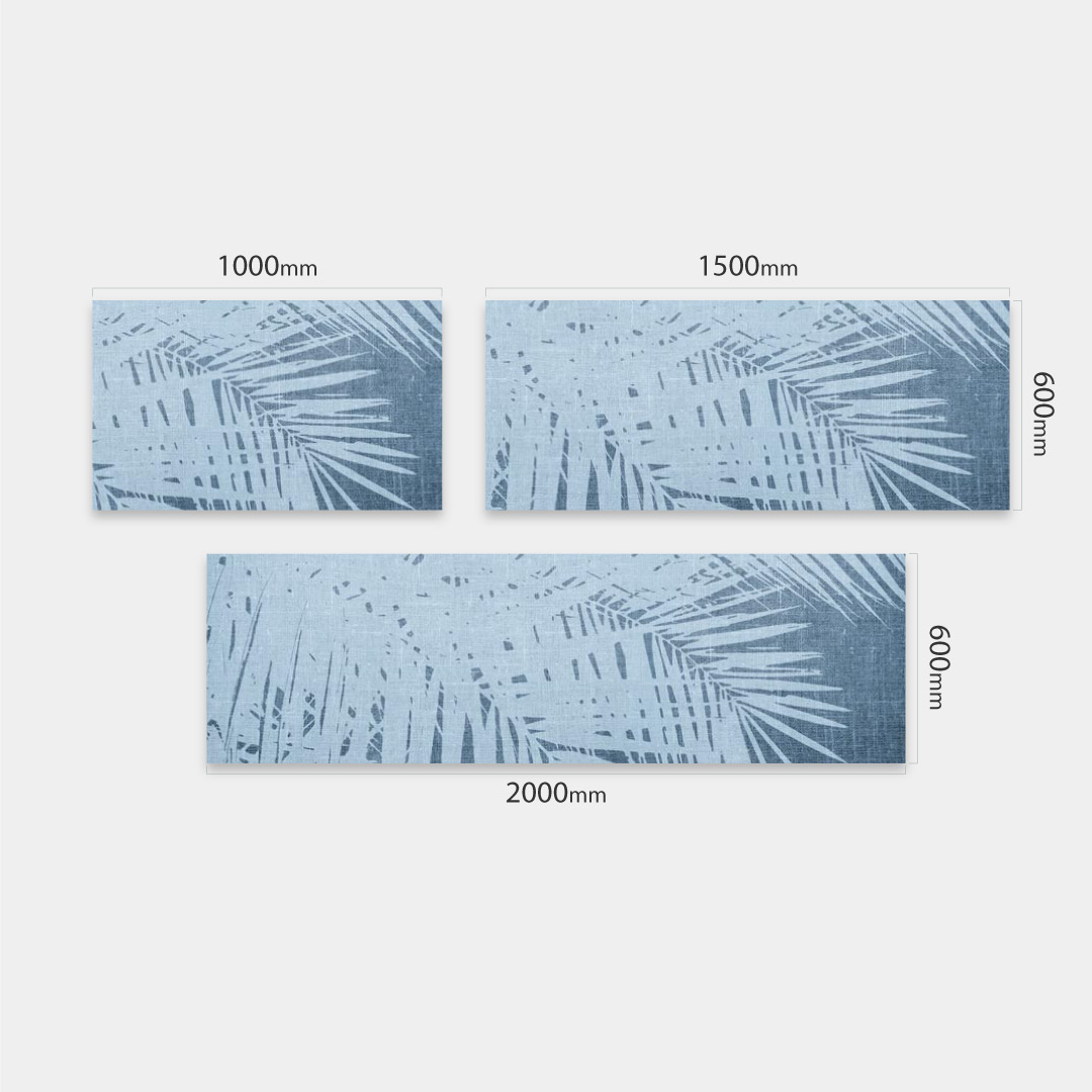 Küchenrückwand Vintage Palmen blau, fugenlose Wandpaneele aus Alu-Verbund 3mm
