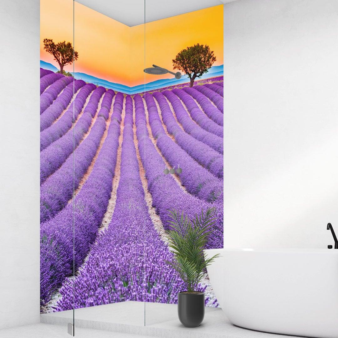 Duschrückwand Lavendel Frankreich über Eck Set