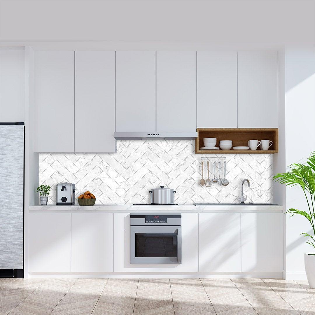 Küchenrückwand Marmor Leisten weiss, fugenlose Wandpaneele aus Alu-Verbund 3mm