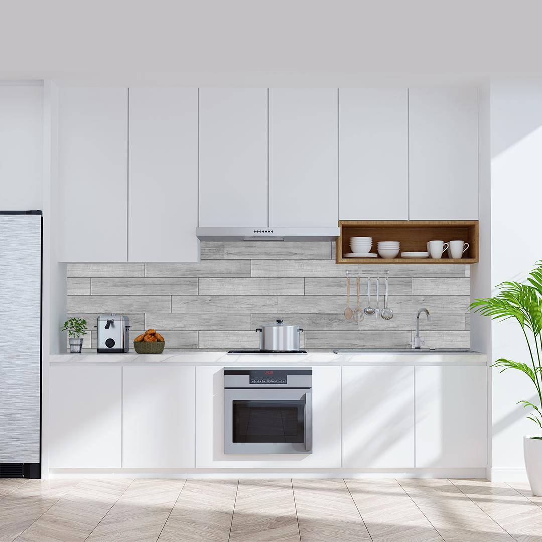 Küchenrückwand Holzleisten grau