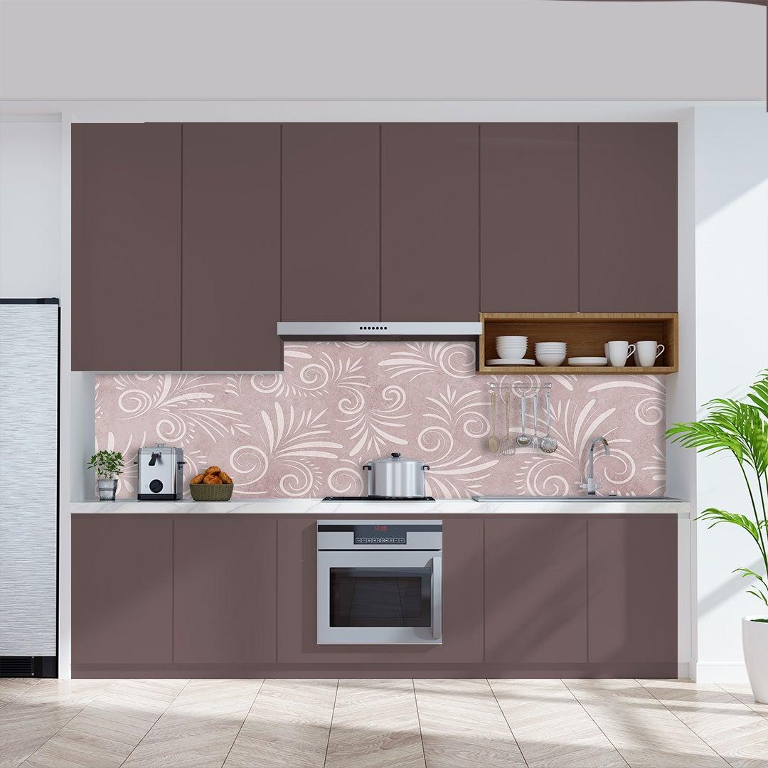 Küchenrückwand Kalkstein Floral Rosa